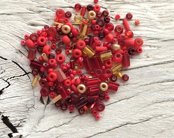 Glass seed bead mix red and gold 6 inch tube 28 grams