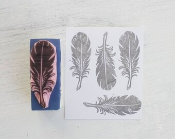 Feather Rubber Stamp - Boho Stamp - Nature Stamp - Bird Feather - Tribal Feather Stamp - wedding decor - Scrapbook stamp