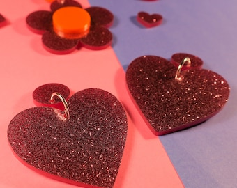Pink Glitter Heart Earrings - lasercut acrylic