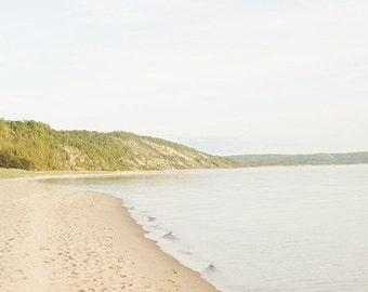 gift under 50 Beach photography beach photograph 8x12 shoreline wall art lake michigan fine art grey gold green calming
