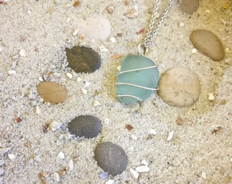 Aquamarine Sea glass, aqua Marine Seaglass necklace