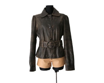 Vintage Women's Brown Leather Jacket with Belt Medium Size