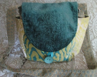 Teal Brocade Front Flap Crossbody Bag Handcrafted/Handmade