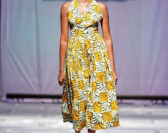 Flirty Halter Sundress in Handprinted Batik from Ghana in Yellow and Black