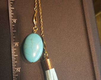 Turquoise Tassel and Bead Purse Charm
