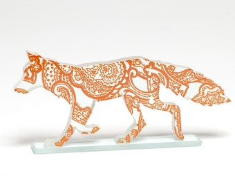 Orange Paisley Fox Glass Sculpture