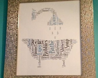 A4 Personalised Word Art Bathroom/Shower Print (UK ONLY)/Download