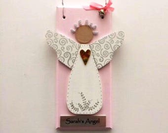 Personalized Pink Baby Angel ~ Handmade Baby Gift ~ Guardian Angel ~ Nursery Angel ~ Christening Gift