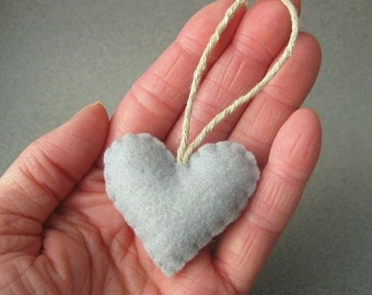 Felt Heart Ornament Recycled, Silver Gray Eco Friendly Grey