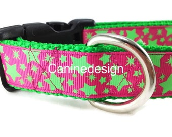 Dog Collar, Pink Green Stars, Glow in the Dark, 1 inch wide, adjustable, quick release, metal buckle, chain, martingale, hybrid, nylon