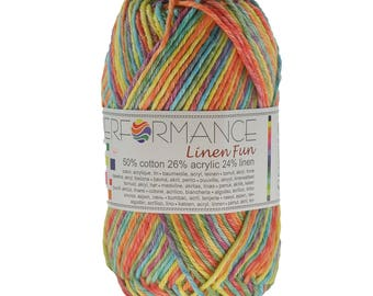 10 x 50g knitted yarn linen fun #9073 Turquoise-yellow-red