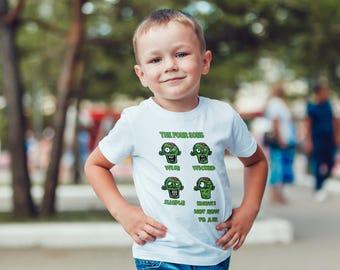 Passover Kids 2018 Children Zombie 4 Sons Clothing Haggadah Gifts Shirt Afikoman Seder Pesach For Boys -Jewish Holidays