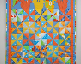 Kids Single Bed Quilt, Children Quilt with Funny Ghosts, 61x50 in, Colorful Patchwork Blanket, Yellow Blue Orange Nursery Bedding