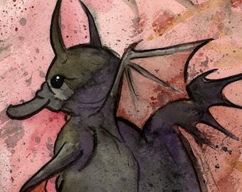 Demon Platypus, Watercolor