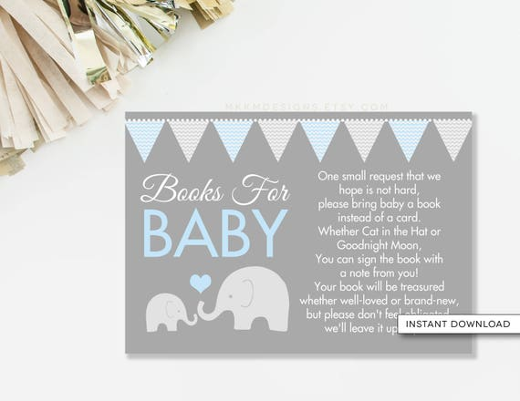 Elephant Book Card Bring A Book Card Elephant Baby Shower