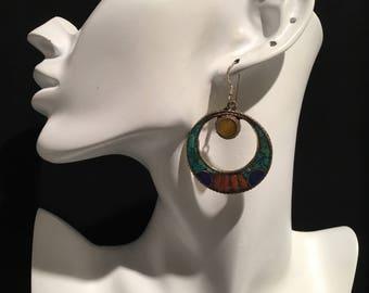 Vintage Earring-Turquoise Earring-Handmade Earring-Bohemian Earring-Nomads Earring.....