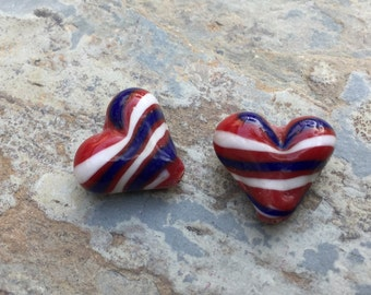 Red, White and Blue Heart Beads, Patriotic Beads, 4th of July Beads, Heart Beads, 18 x 20mm 2 beads per package