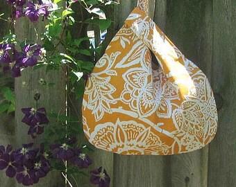 Knitting Project bag, Crochet Bag Japanese Knot Bag, Self Closing Diaper bag, Sherbet Orange Floral Canvas Tote Bag