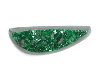 DVH 4 ct. Uvarovite Green Garnet Druzy Drusy Cabochon 17x6x5mm (9603)