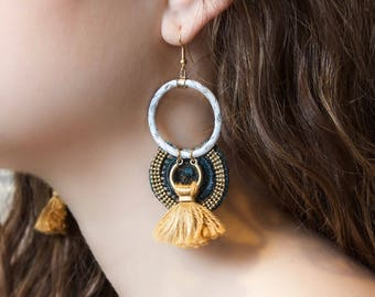Lace earrings - MUSK - Black lace and tassel, burgundy lace and tassel or teal lace and mustard tassel