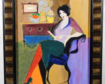 Itzchak Tarkay, Intermezzo I, hand embellished silkscreen on canvas