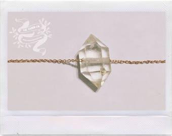 Daily Gem I — herkimer diamond, solid rose gold, NY quartz crystal Upstate New York minimalist dainty neutral romantic christmas nashville