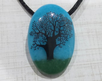 Tree Necklace, Blue and Green Fused Glass Pendant, Black Tree, Tree of Life Pendant, Fused Glass Jewelry, Ready to Ship - Hearty Oak- -6