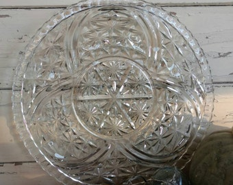 Retro Clear Glass Serving Dish - Vintage Pressed Glass Snack Tray, Shabby French Serving Platter Or New Years Snack Dish, Art Glass Dishware