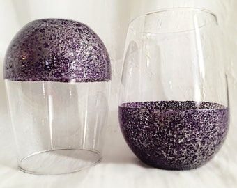 Hand Painted Water Speckled Purple and Silver Stemless Wine Glass - Pandora's Box