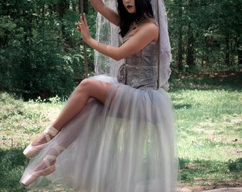 Ready to ship - Adult tutu tulle skirt gray silver floor length romance Petticoat bridal wedding prom costume Medium Sisters of the Moon