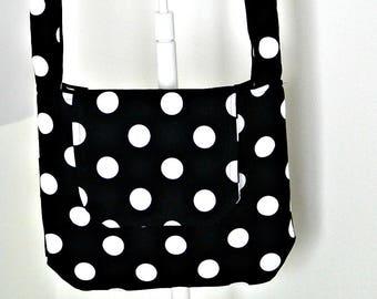 Cross Body Bag, Polka Dot, Black and White, Messenger Bag