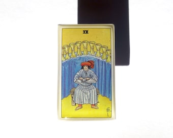 Handmade Tarot Card Pin  — Nine of Cups