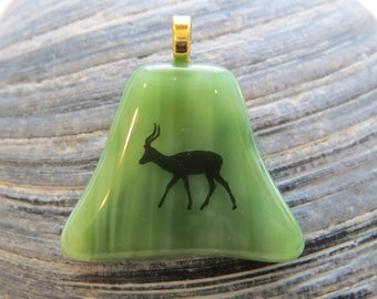 0086 -  Green Fused Glass Pendant with Antelope