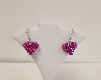 Hand Woven Swarovski Crystal Puffy Heart Earrings in Light Siam AB 2x with Sterling Silver findings