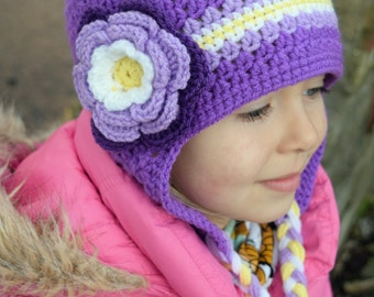 Handmade Crochet hat for girls, Flower hat, Purple Hat