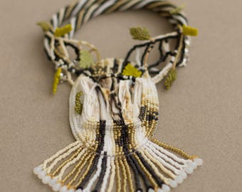 """Bead Embroidered Necklace with Fossil Wood """"Birch"""""""