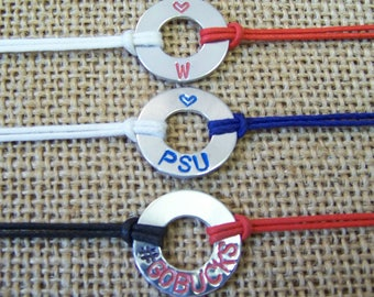 Custom College Themed Washer Bracelets,  all schools available