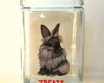 Lionhead Rabbit, Bunny Treat Jar, Painted Glass Canister, Pet Snack Container, Handpainted Glassware, Kitchen Decor