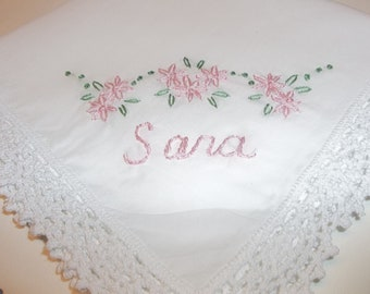 personalized handkerchief, wedding gift, birthday day, bridesmaid gift, hand embroidered, bridal gift, flower girl present, rustic weddings,