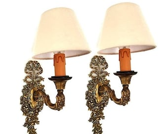 SALE French Pair of Bronze Wall Sconces,Antique Gilt Bronze Wall Sconces with Shades, Wall Sconces Lights whit Flowers and Ribbon