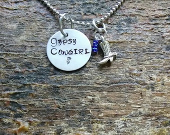 Gypsy Cowgirl hand stamped pendant. Your choice of either Necklace or Keychain