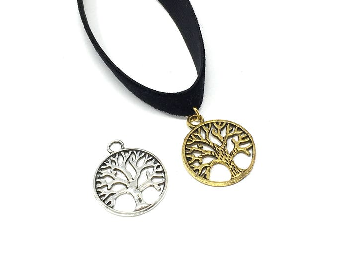 TREE OF LIFE: silver or gold charm on black velvet elastic