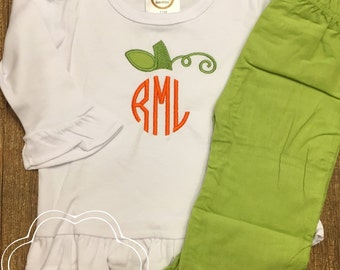 Pumpkin Monogram Shirt for Toddlers and Children