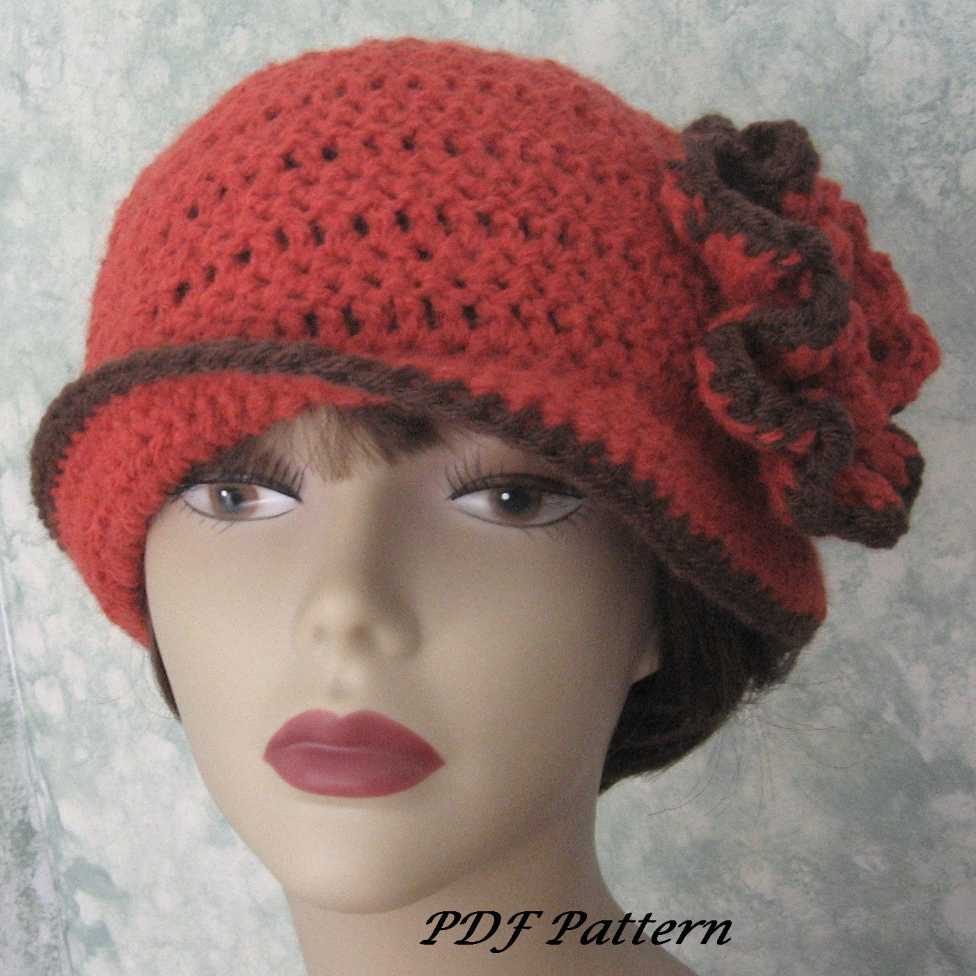 Womens crochet hat pattern with double flower trim easy to zoom bankloansurffo Images
