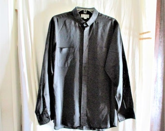 Vintage 80s Mens Black Clerical Collar Shirt XL 17 - 35  Long Sleeve As Is