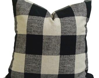 Black Plaid Pillow, BLACK Tan Throw Pillow, Pillow Cover, Plaid, Buffalo Check Pillow, Buffalo Plaid. Euro Sham Farmhouse Decor. Cushion