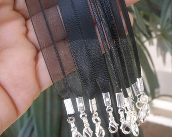 SAMPLE Pack All Black - 5 Necklace Cords - For use with Scrabble/Glass Tile Pendants
