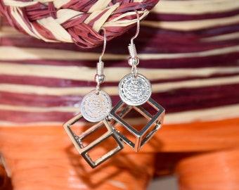 Silver cube earrings