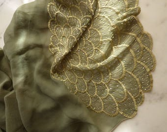 Silk Chiffon Silk Scarf Beaded Silk Scarf Olive Green Silk Scarf