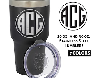 Personalized Tumbler Circle Initials Monogram | Engraved Custom Drink Cup Hot Cold 20 oz 30 oz | Stainless Steel